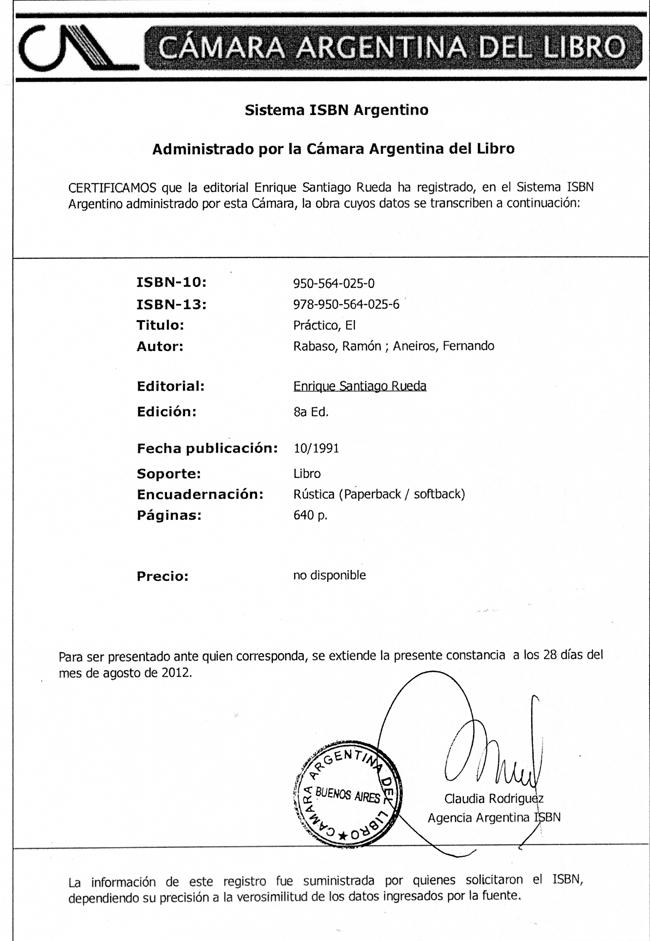 """Registro de la obra """"El Práctico"""" en Cámara del Libro Argentina"""