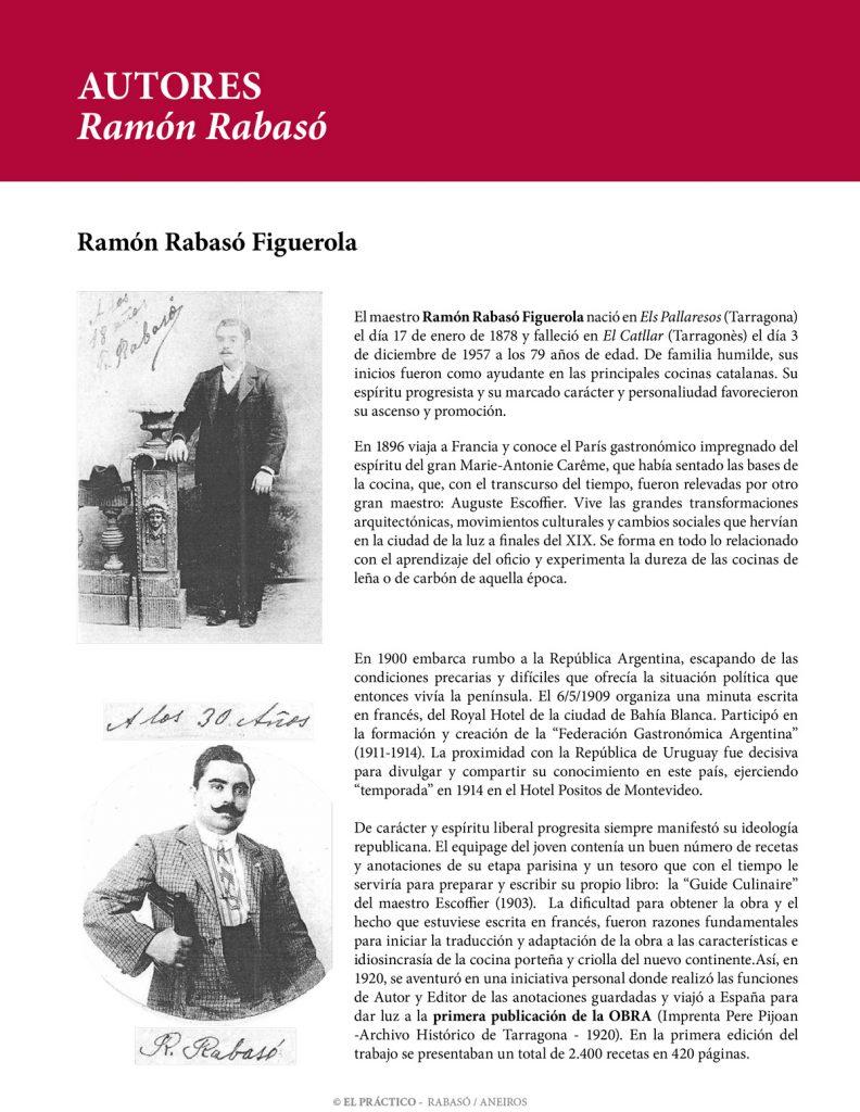 """Ramon Rabasó Figueroa - Autor del libro de cocina """"El Práctico"""""""