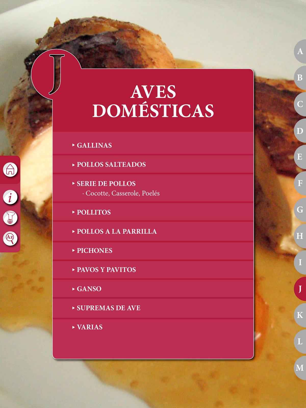 """Recetario """"El Práctico"""", J - Aves domésticas"""