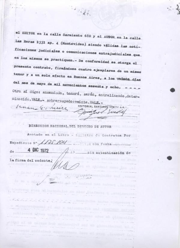 Contrqto de Venta de derechos El Práctico a Santiago Rueda EDITOR