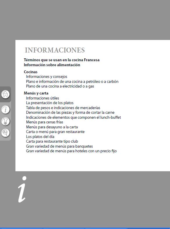 Índice del del libro El Práctico de cocina, 6500 recetas- Edición digital
