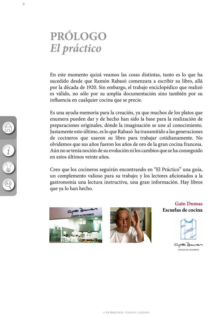 """Prólogo del Gato Dumas libro de cocina """"El Práctico"""" 6500 Recetas"""